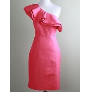 J Crew 000 pink one shoulder dress new with tags